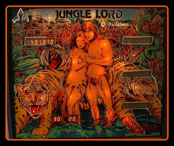 JungleLord_Backglass-Exemple de fronton -d`un -flipper -�lectronique- 4 joueurs- des- ann�es- 1980